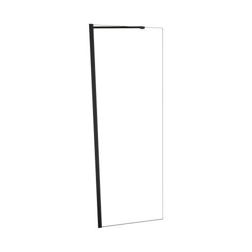 5400 Series 24 in. W x 76 in. H Semi-Frameless Shower Screen in Matte Black with Clear Glass