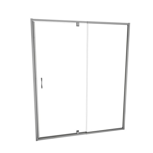 5100 Series 60-in W x 72-in H Framed Swing Shower Door in Brushed Nickel with Through the Glass Pull Handle and Clear Glass