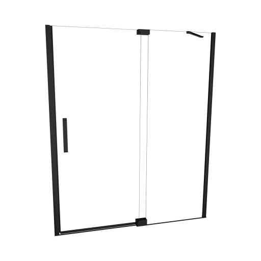 5200 Series 47-in W x 76-in H Semi-Frameless Swing Shower Door in Matte Black with Through the Glass Pull Handle and Clear Glass