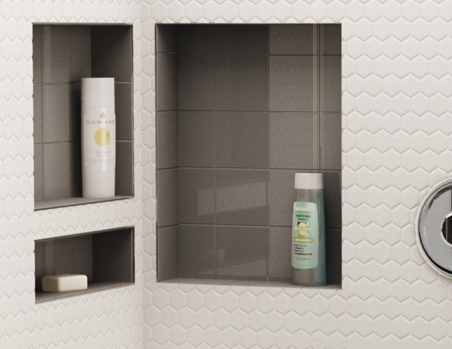 Tile Ready Niche Wall : The wall will be white subway tile with these shelves only